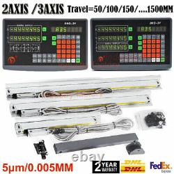 2/3Axis DRO Digital Readout Display TTL Linear Scale 5m CNC Mill Lathe Machine