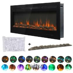 50 Electric Fire 10 LED Color Wall Fireplace Digital Choice Of Crystals/Log Bed