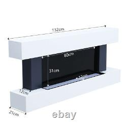 50 In LED Digital Fireplace White Surround Suite Wall Mounted Wide Electric Fire