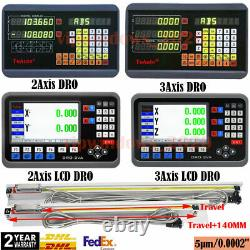 DRO Display 2/3Axis Digital Readout 5µm Linear Scale for Bridgeport Mill Lathe