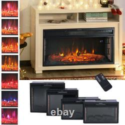 Electric Digital 7Flame LED Fireplace Wall Inset Fire Heater Stove withRemote Wifi