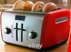 KitchenAid Kmt422er 4 Slice Red Digital Stainless Steel Toaster with LCD display
