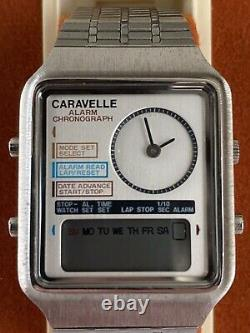 Rare Bulova Caravelle Stainless Steel Dual Analog LCD Watch. 1982