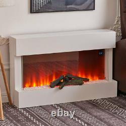 Wall-Mount Electric Fireplace Digital Flame Pebble Logs Display White Fire suite