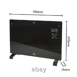 WiFi Convector Heater Panel Electric Glass Black with LCD Display Radiator 2000W